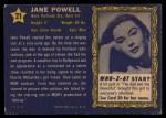 1953 Topps Who-Z-At Star #21  Jane Powell  Back Thumbnail
