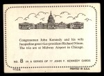 1964 Topps JFK #8   Congressman Kennedy & Wife W/ VP Nixon Back Thumbnail