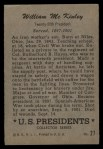 1952 Bowman U.S. Presidents #27  William McKinley  Back Thumbnail