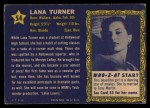 1953 Topps Who-Z-At Star #54  Lana Turner  Back Thumbnail