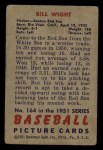 1951 Bowman #164  Bill Wight  Back Thumbnail