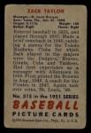 1951 Bowman #315  Zack Taylor  Back Thumbnail