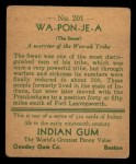1933 Goudey Indian Gum #201  Wa-Pon-Je-A   Back Thumbnail