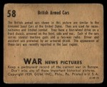 1939 Gum Inc. War News Pictures #58   British Armed Cars Back Thumbnail