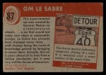 1954 Topps World on Wheels #87   GM Le Sabre Back Thumbnail