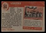 1954 Topps World on Wheels #51   Veritas Back Thumbnail