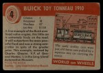 1954 Topps World on Wheels #4   Buick Toy Tonneau 1910 Back Thumbnail