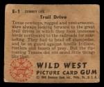 1949 Bowman Wild West #1 E  Trail Drive Back Thumbnail