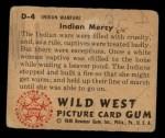 1949 Bowman Wild West #4 D  Indian Mercy Back Thumbnail