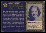 1953 Topps Who-Z-At Star #37  Gene Kelly  Back Thumbnail