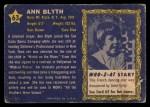 1953 Topps Who-Z-At Star #63  Ann Blyth  Back Thumbnail