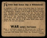 1939 Gum Inc. War News Pictures #74   British Bomb German Ships At Wilhelmshaven Back Thumbnail
