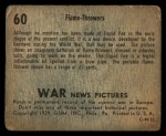 1939 Gum Inc. War News Pictures #60   Flame-Throwers Back Thumbnail