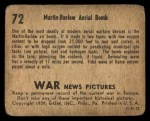 1939 Gum Inc. War News Pictures #72   Martin-Barlow Aerial Bomb Back Thumbnail