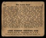 1940 Gum Inc. Lone Ranger #12   The Lasso Duel Back Thumbnail