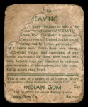 1933 Goudey Indian Gum #155  Weaving   Back Thumbnail