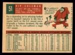 1959 Topps #51  Rip Coleman  Back Thumbnail