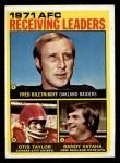 1972 Topps #5   -  Fred Biletnikoff / Otis Taylor / Randy Vataha AFC Receiving Leaders Front Thumbnail