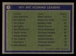 1972 Topps #7   -  Jan Stenerud / Garo Yepremian / Jim O'Brien AFC Scoring Leaders Back Thumbnail