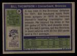 1972 Topps #24  Bill Thompson  Back Thumbnail