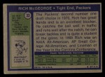 1972 Topps #33  Rich McGeorge  Back Thumbnail