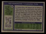 1972 Topps #93  Ted Hendricks  Back Thumbnail