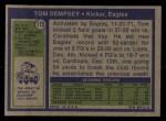 1972 Topps #175  Tom Dempsey  Back Thumbnail