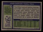 1972 Topps #176  John Charles  Back Thumbnail