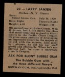 1948 Bowman #23  Larry Jansen  Back Thumbnail