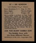1948 Bowman #27  Sid Gordon  Back Thumbnail