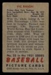 1951 Bowman #25  Vic Raschi  Back Thumbnail