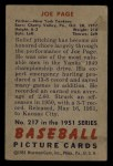 1951 Bowman #217  Joe Page  Back Thumbnail