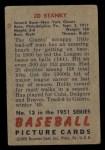 1951 Bowman #13  Eddie Stanky  Back Thumbnail