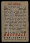 1951 Bowman #9  Sam Chapman  Back Thumbnail