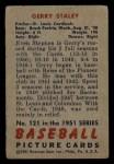 1951 Bowman #121  Gerry Staley  Back Thumbnail