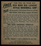 1954 Red Man #10 AL Billy Pierce  Back Thumbnail