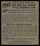 1954 Red Man #15 AL Gene Woodling  Back Thumbnail