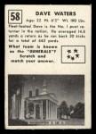 1951 Topps Magic #58  Dave Waters  Back Thumbnail