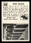 1951 Topps #49  Don McRae  Back Thumbnail