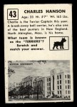 1951 Topps #43  Charles Hanson  Back Thumbnail