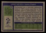 1972 Topps #201  Leroy Keyes  Back Thumbnail