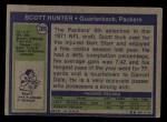 1972 Topps #206  Scott Hunter  Back Thumbnail