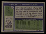 1972 Topps #69  Dave Wilcox  Back Thumbnail