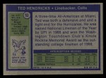1972 Topps #93  Ted Hendricks  Back Thumbnail