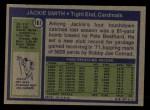 1972 Topps #161  Jackie Smith  Back Thumbnail