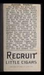 1912 T207  Joe Tinker    Back Thumbnail