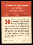 1963 Fleer #36  George Blanda  Back Thumbnail