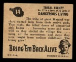 1950 Topps Bring Em Back Alive #14   Tribal Frenzy Back Thumbnail
