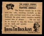 1950 Topps Bring Em Back Alive #20   The Lioness Springs Back Thumbnail