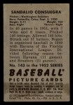 1952 Bowman #143  Sandy Consuegra  Back Thumbnail